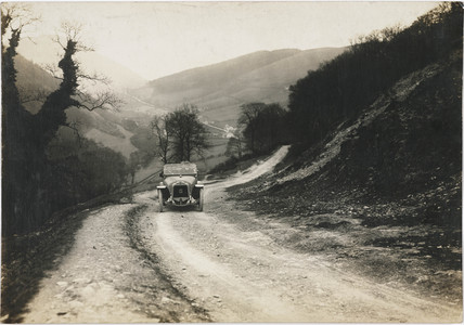 Motor car driving near Llangollen, North Wales, c 1912.