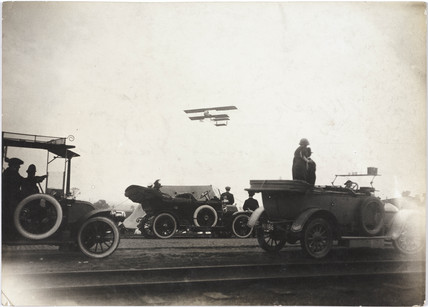Biplane taking off from Manchester, c 1910.