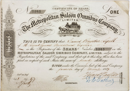 Share certificate of the Metropolitan Saloon Bus Company, 1857.