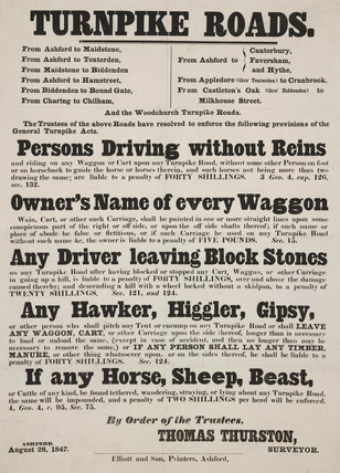 Notice relating to driving on turnpike roads, 1847.