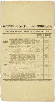 Worthing Motor Services Ltd bus timetable, 1909.