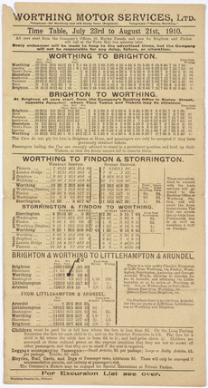 Worthing Motor Services Ltd bus timetable, 23 July - 21 August 1910.