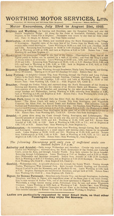 Notice advertising bus excursion trips, 23 July - 21 August 1910.