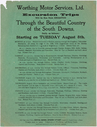 Notice advertising bus excursion trips, 1909-1910.