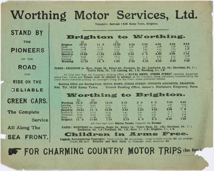 Worthing Motor Services Ltd bus timetable, 1909-1910.