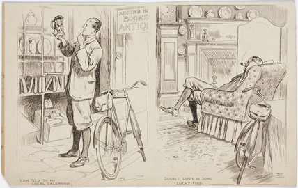 Cyclist shopping for antiques, 1922.