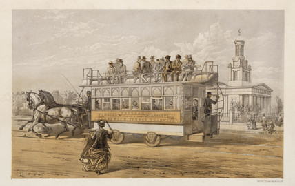 Horse-drawn tram, London, c 1875.
