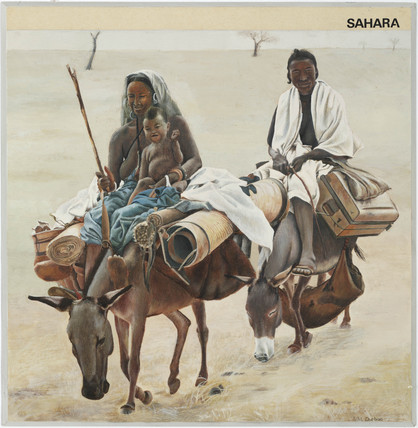 'Sahara'; family travelling on donkeys, 1967.
