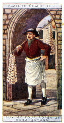 'Buy my Four Ropes of Hard Onions', trade card, 1916.