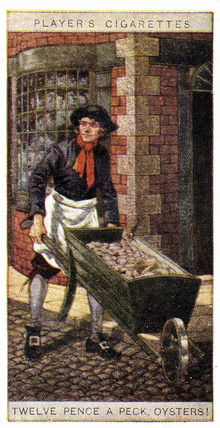 'Twelve Pence a Peck, Oysters!' trade card, 1916.