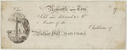 Printed receipt from Walker Colliery, Newcastle Upon Tyne, 1747.