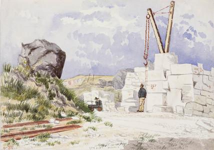 Limestone quarry on the Isle of Portland, Dorset, 1889.