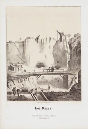 Stone quarry, Roche, Paris, France, 1860s.
