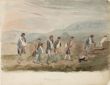 Miners walking to work, Northumberland, c 1805-1820.