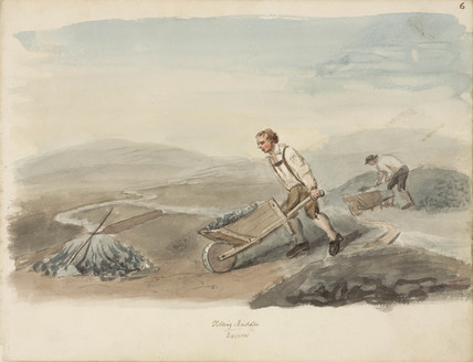 Pushing a barrow of lead ore, Northumberland, c 1805-1820.