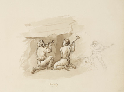 'Blasting', lead mine, Northumberland, c 1805-1820.