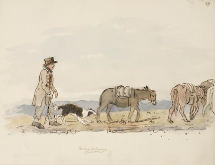 Pack horses, Northumberland,  c 1805-1820.