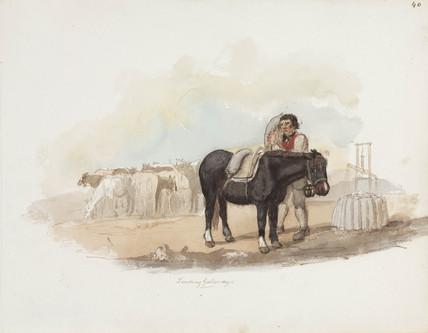 Loading horses, Northumberland, c 1805-1820.
