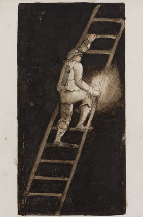 'Miner with candle, climbing ladder', Alston Moor, Northumberland, c 1805-30.