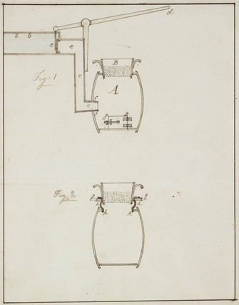Labelled diagram of vesel for washing lead ore, c 1805-1820.