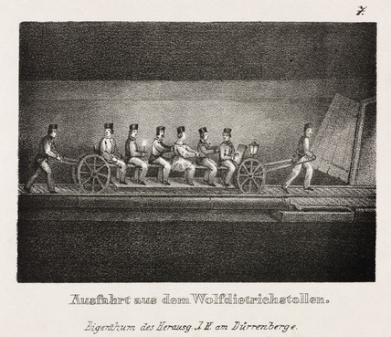 'Ride into the Wolfdietrich tunnel', Durrnberg, Austria, 19th century.