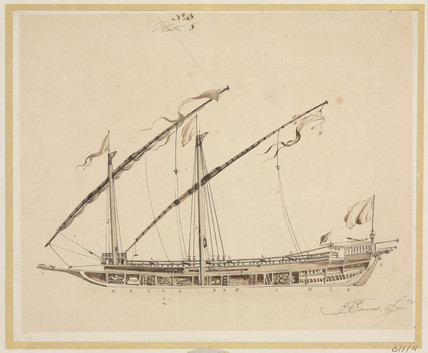 Side view of a felucca, early 19th century.