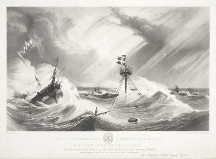 'Captain Bullock's Safety Beacon on the Goodwin Sands', c 1840.