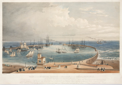 View of a proposed harbour for Brighton, East Susex, c 1850.