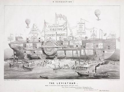 Cartoon showing posible uses of the Great Eastern steam ship, 1858.