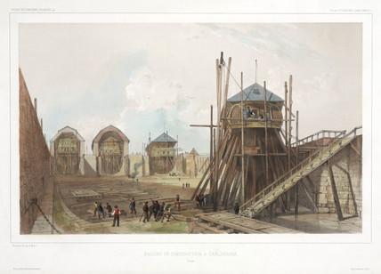 Shipyard at Carlskrona, Sweden, 1838-1840.