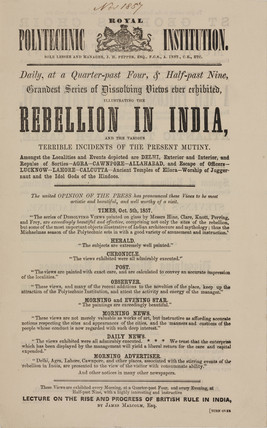 Advertisement for the exhibition 'Rebellion in India', 1857.