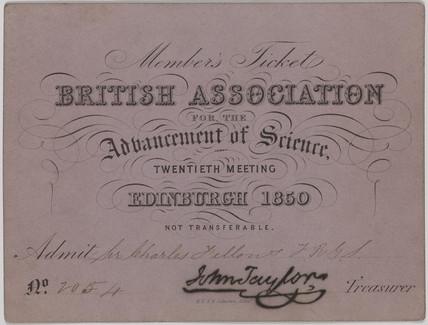 British Asociation for the Advancement of Science member's ticket, 1850.