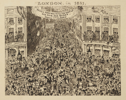 Crowded streets during the Great Exhibition, London, 1851.