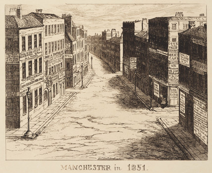 The empty streets of Manchester at the time of the Great Exhibition, 1851.