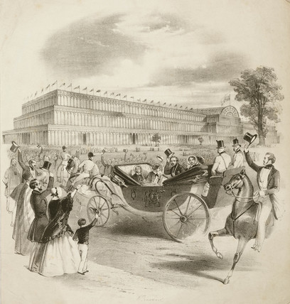 The Royal Carriage arriving at the Crystal Palace, 1851.