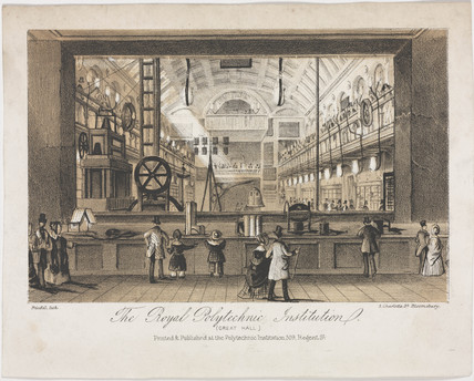 The Great Hall of the Royal Polytechnic Institution, London, c 1838.