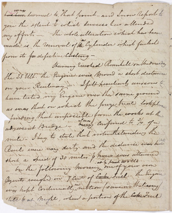 Draft letter to the Liverpool & Manchester Railway Board by Hackworth, 1829.