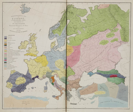 'Ethnographical Map of Europe, in the Earliest Times', 1843.