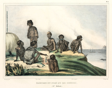 Aboriginals cooking lizards, New Holland, 1826-1829.