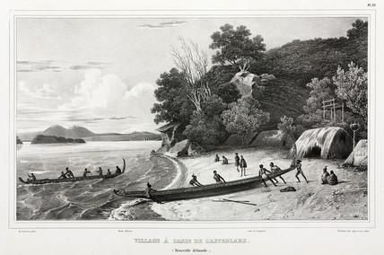 Maoris launching canoes, Astrolabe Strait, New Zealand, 1826-1829.