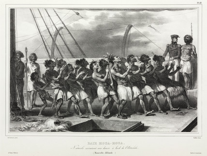Maoris dancing on a French ship, New Zealand, 1826-1829.