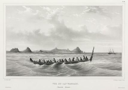 Maori canoe seen from Wangari Point, New Zealand, 1826-1829.