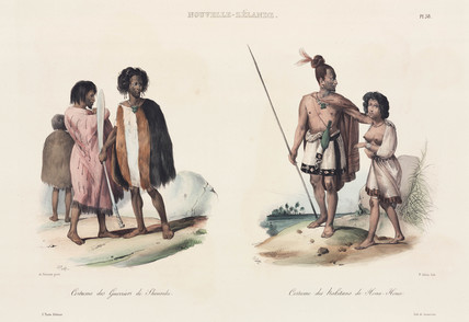 Warriors of Shouraki, and inhabitants of Houa Houa, New Zealand, 1826-1829.