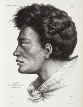Natai, Maori chief from Bream Bay, New Zealand, 1826-1829.