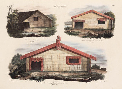 Maori houses, New Zealand, 1826-1829.