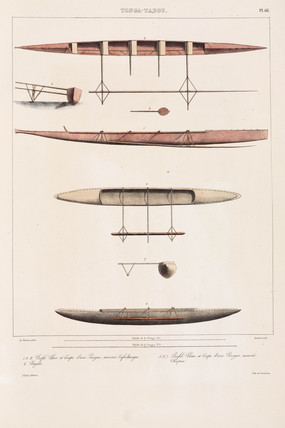 Outrigger canoes from Tonga, 1826-1829.