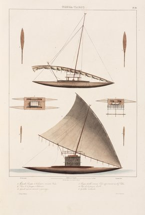 Sailing canoes, Tonga, 1826-1829.