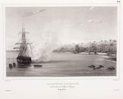 The 'Astrolabe' firing her cannon, Tonga, 1826-1829.