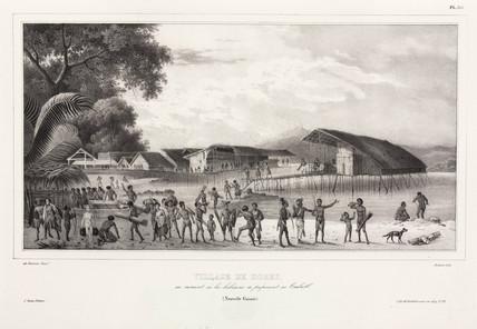 Papuans preparing for combat, Dorey village, Papua New Guinea, 1826-1829.