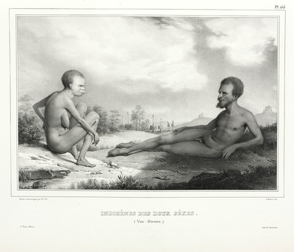Aboriginal man and woman, Tasmania, Australia, 1826-1829.